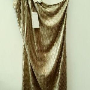 Michael kors one shoulder sequin dress small